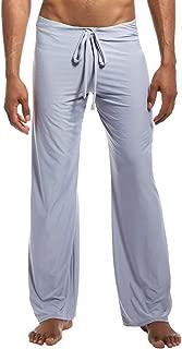 Mens Ice Silk Long Yoga Pant Low Rise Elastic Drawstring Sleep Bottom
