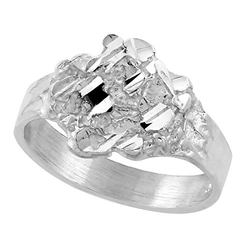Sterling Silver Nugget Ring Diamond Cut Finish 1/2 inch wide, size 6