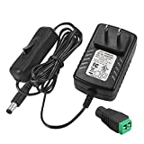 F1TP 12V 2A Switching Power Supply 24W AC/DC Adapter with On/Off Switch, Input 100-240V Output 12 Volt 2 Amp Transformer 24 Watt Wall Charger for DC12V CCTV Camera 12Vdc LED Strip Light, UL Listed