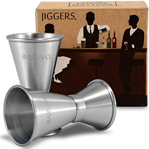 Double Jigger Set by Barvivo - Measure Liquor with Confidence Like a Professional Bartender - These Stainless Steel Cocktail Jiggers Holds 0.5oz / 1oz - The Perfect Addition to Your Home Bar Tools.
