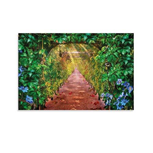 Mural artístico de uva, callejón, uva, viña, patio de cerveza, avenida, vegetal, verde, pintura decorativa para pared, sala de estar, dormitorio, 61 x 91 cm