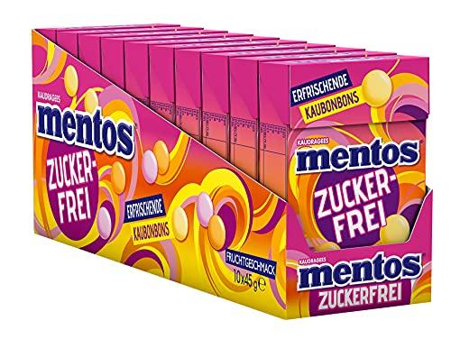 Mentos Fruit-Zuckerfrei, 10 x 45g Böxli, Frucht-Kaubobons mit Orange + Zitrone + Erdbeere Geschmack