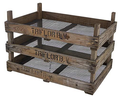 Vintage Möbel 24 GmbH 3X Tolles, altes Trockensieb mit Aufdruck des Erzeugernamens, ideal zum Trocknen von Nüssen, Pilzen oder Kräutern, 75x51x19cm