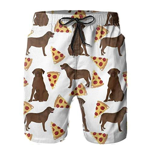 MayBlosom Pantalones cortos de playa cómodos para hombre, transpirables, con cordón, pantalones cortos, chocolate, labrador, pizza
