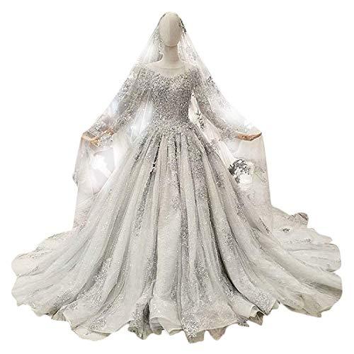 Elegant Dress con Cuello en V Nupcial de la Boda de Gasa de Tul de Lentejuelas de Manga Larga Vestido de Boda del Partido del Banquete para la Novia, 4, US Size