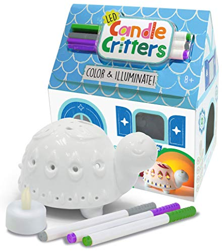 Bright Stripes LED Candle Critters Turtle - Color & Illuminate DIY Ready to Decorate Craft Kit with 3 Ceramic Markers and Ceramic Turtle in Cottage Shaped Box - Perfect Kids Coloring or Art Activity