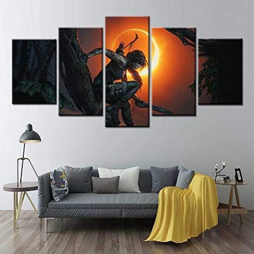 WUZHIXIN 5 Piezas Cuadros En Lienzos Juego De Tomb Raider Cuadros Modernos Impresión De Imagen Artística Decorativo para Salón O Dormitorio (150Cm/Wx80/H)