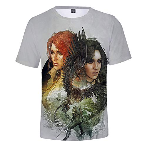 Mempire T-Shirt per Uomo Witcher Cosplay Wild Hunt Geralt of Rivia Tshirts Casual Anime Costume per Ragazzi (B,XL)