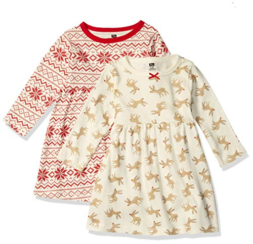 Hudson Baby Girl's Cotton Dresses, Reindeer, 18-24 Months