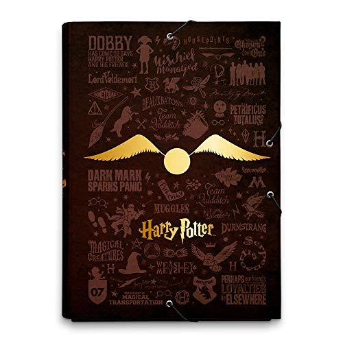 Grupo Erik - Cartellina rigida con elastico Harry Potter Boccino d'Oro, cartone, 24x34 cm, ideale come cartellina portadocumenti A4