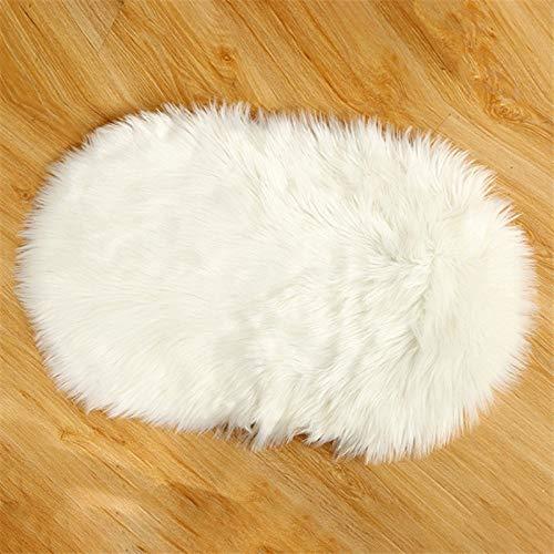 TGHYB Hundedecke, Vintage-Stil, oval, weißes Kunstfell, Hundematte, wasserdicht, flauschig, zusammenklappbar, leicht, warm, für Katzen und Hunde M 60Cx40CM/15.7x23.6inch