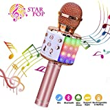 ShinePick Microphone Karaoke Sans Fil, Micro Karaoké Bluetooth Portable avec LED...