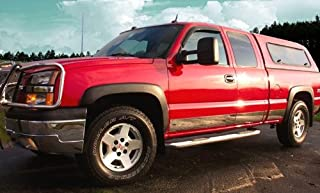 Made in USA! Works with 1999-2006 Chevrolet Silverado 4Dr Extended Cab Short Bed W/Fender Flare Rocker Panel Chrome Stainless Steel Body Side Moulding Molding Trim Cover 6