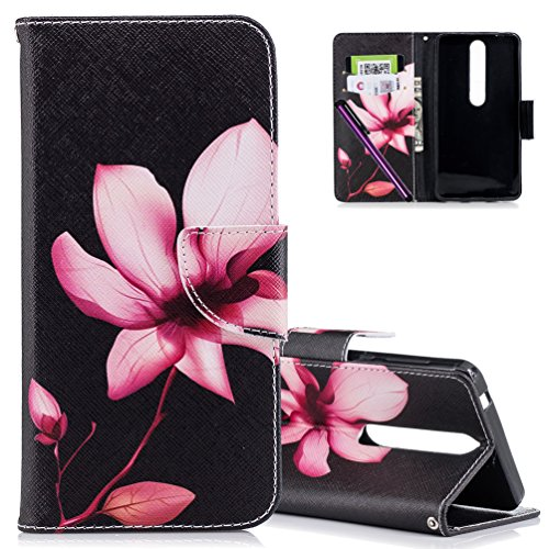 COTDINFORCA Case for Nokia 6.1 (2018) Leather Elegant Ultra Slim & Thin Fit Magnetic Flip Case Cover with Card Slots Premium Protective Accessory for Nokia 6 (2018) 5.5 Inch. PU - Pink Lotus
