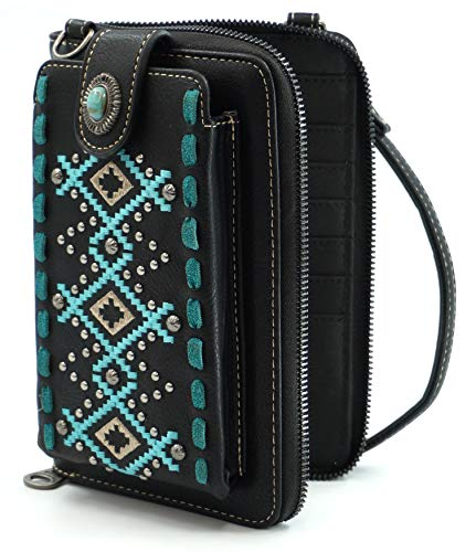 Montana West Crossbody Cell Phone Purse For Women Western Style Phone Bags Travel Size With Strap MWUSA-PHD-110BK