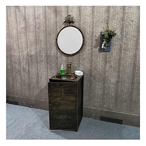 Mueble Lavabo Baño Estilo Industrial, Decoración Retro Del Fregadero De Pedestal De Una Pieza, Pica Baño Creativo Con Combinación De Grifo Y Desagüe De Agua Fría Y Calie(Color:Bronce Vintage + Espejo)