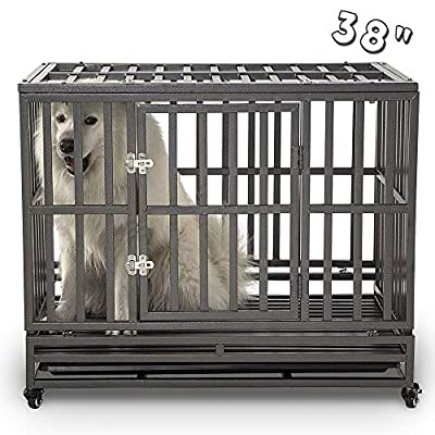 SMONTER Heavy Duty Dog Crate Strong Metal Pet Kennel Playpen with Two Prevent Escape Lock, Large Dogs Cage with Wheels ...