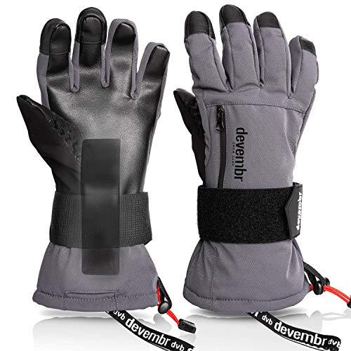 devembr Skihandschuhe Herren & Damen, wasserdichte Snowboard-Handschuhe mit abnehmbaren Handgelenkschutz & 3M Thinsulate Insulation, Schneehandschuhe, Touchscreen, Anti-Rutsch (Grau, S)