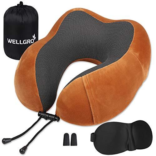 WELLGRO Nackenkissen Set mit 3D Schlafmaske und Ohrstöpsel - Abnehmbarer Bezug - Memory Schaum - Reißverschluss - inkl. Aufbewahrungstasche - Reisekissen - Farbe wählbar, Farbe:Braun