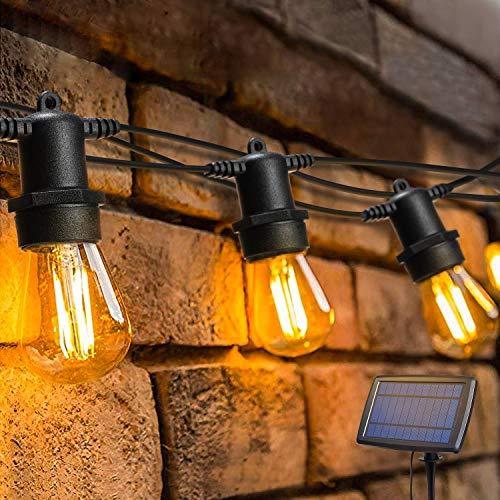 Solar Lichterkette Aussen,OxyLED Lichterkette Glühbirne LED Retro,15M IP65 Wasserdicht,15 LED Birnen Warmweiß 2200K Beleuchtung für Innen und Außen Deko Garten Hochzeit