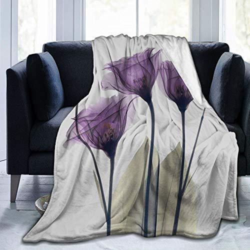 DOWNN Manta polar de franela, diseño retro de flores de...