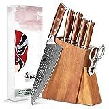 XINZUO 7 Piezas Set Cuchillo Cocina con Bloque de Madera, 67 Capas de Acero Damascus Juegos de Cuchillo de Cocinero ,Multifuncional Acero de Alto Carbono Cuchillo Chef japonés con Tijeras de Cocina