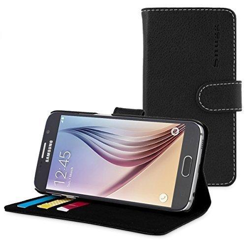 Galaxy S6 Hülle (Schwarz), Snugg™ – Flip Hülle mit lebenslanger Garantie + Kartenfächern und Standfunktion