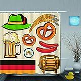 JOSENI Doccia Tenda,Oktoberfest Simbolo Salsiccia di Grano Birra e salatini Disposizione Bavarese colorato,Bagno Decoro,Ganci Inclusi,180 * 210