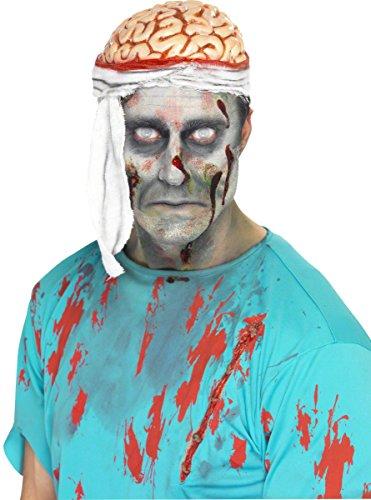 KULTFAKTOR GmbH Zombie Gehirn Mütze Halloween Hut Weiss-rot E