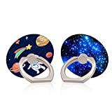 LuGeKe Astronauts Planets Design 360 Degree Cell Phone Ring Holder,Starry Sky Print Round Rotation Finger Ring Stand,Universal Phone Grip Loop Compatible with All Smartphones and Tablets(2 Pack)