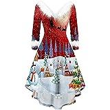 Las Mujeres de la Vendimia de Navidad Swing Fiesta de cóctel Vestido de Cuello drapeado Fishtail V Cuello Vestidos Vestido de Manga Larga con Cuello en V y Estampado de Pieles de Navidad para Mujer