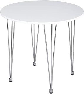 MEUBLE COSY Table de Salle à Manger Table Basse Ronde Simple et Moderne avec Pieds en métal chromé, Blanc Table salle à ma...