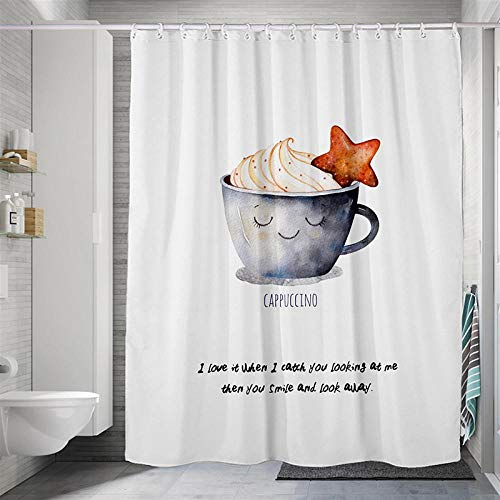 Duschvorhang Polyester Stoff Wasserdicht Antibakteriell Waschbar Verstärktem Saum Cappuccino Duschvorhang Badewanne 180X200 cm Mit 12 Duschvorhangringen Für Bad Und Badewanne