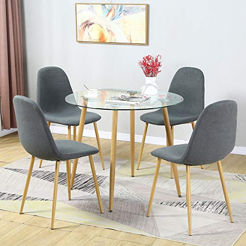 5 Pieces Dining Table Set for 4, Round Glass Dining Table and Fabric Chairs with Metal Legs, Modern Table and Chairs for Dining Room and Kitchen (Round Table + 4 Fabric Deep Grey Chairs)