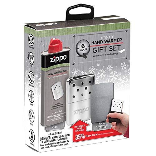 Zippo 6-Hour Ultimate Refillable Hand Warmer Gift Set Juego de Calentador de Manos Recargable de 6 Horas, Unisex, Plata