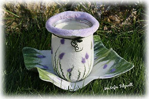 Großes Windlicht-Set Lavendel gefilzt ***Filz**Windlicht und Deckchen**Filzset**Kombi Licht und Deckchen