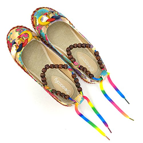 Huanyoo Women Comfortable Ethnic Beading Flats Round Toe Colorful Loafers Shoes US6