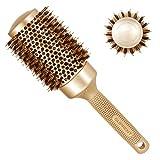 Brosse Ronde SUPRENT 82mm (Baril 53mm),Brosse à cheveux ronde pour le séchage, Brosse à poils de sanglier Brosse pour sèche-cheveux, Brosse ronde pour coiffer les cheveux frisés