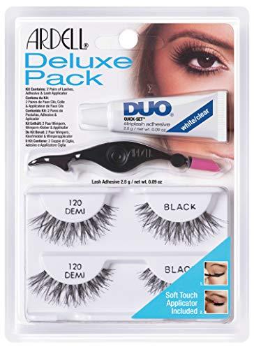 ARDELL Deluxe Pack, 2 x Paar Echthaarwimpern mit Duo Wimpernkleber und Easy Applikator zum Anbringen der künstlichen Wimpern, das Original für perfekte Lashes, 26g (Demi 120)