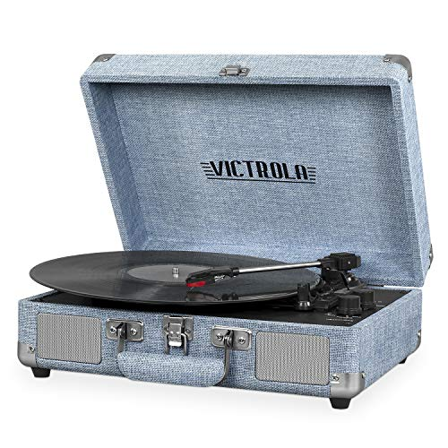 Victrola Bluetooth Suitcase Record Player with 3-Speed Turntable, Light Denim Blue Linen