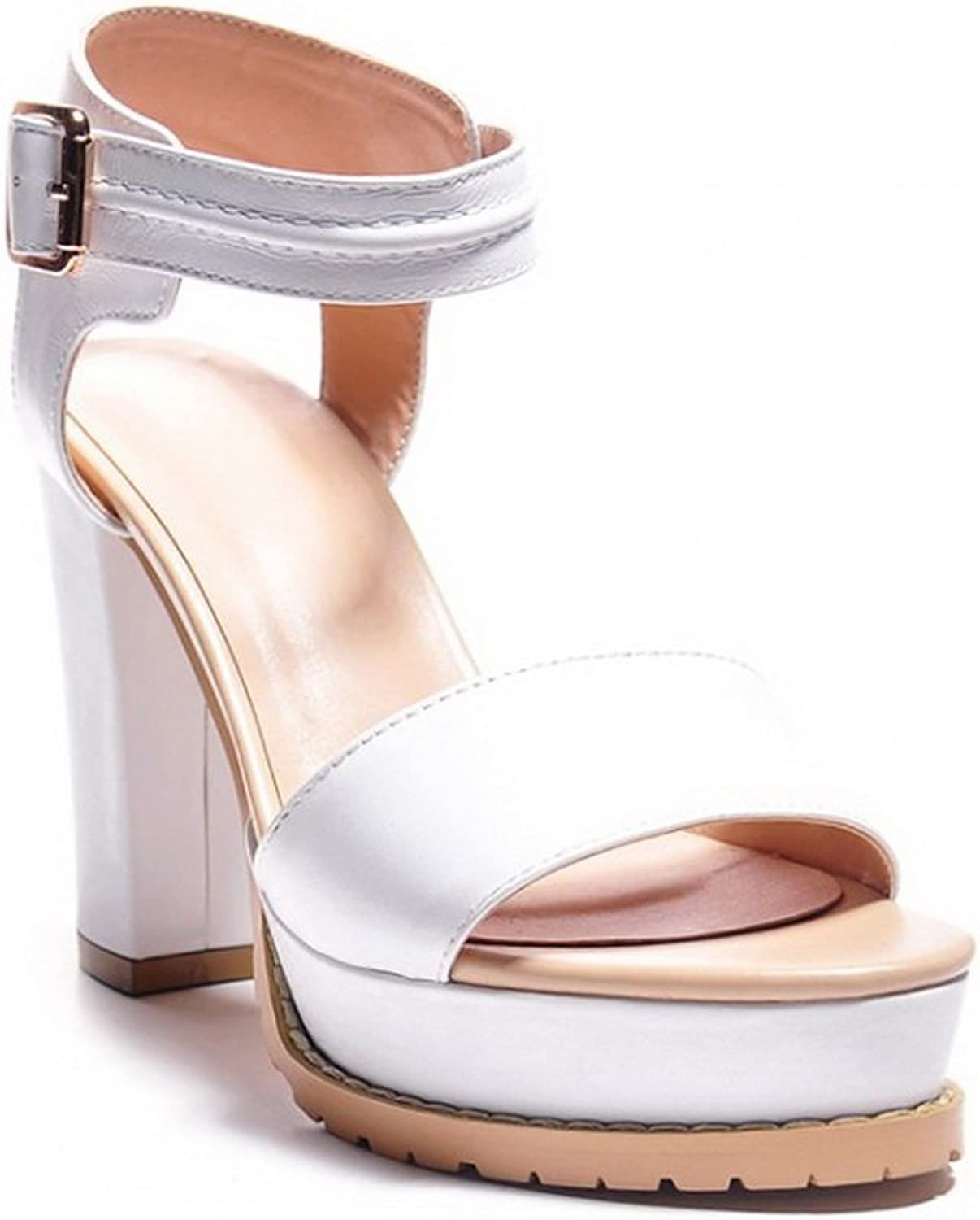 AN Womens Hollow Out Chunky Heels Metal Buckles Platform Leather Heeled Sandals DIU00589