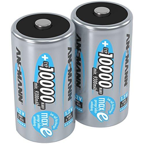 ANSMANN Akku D Mono Typ 10000mAh 1,2V NiMH 2 Stück für Geräte mit hohem Stromverbrauch - Wiederaufladbare Batterien maxE - Akkus für Spielzeug, Taschenlampe, Modellbau uvm - Rechargeable Battery