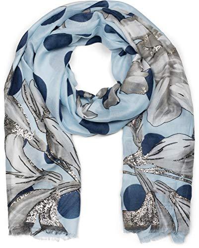styleBREAKER Dames sjaal met metallic bloemmotief, stippen en franjes, sjaal 01016183