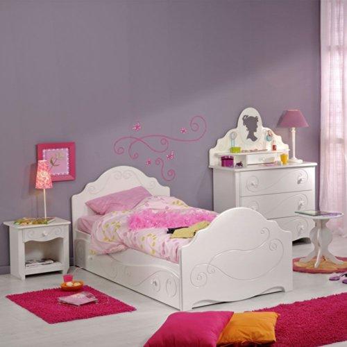 Pharao24 Mädchenzimmer Einrichtung Bett Spiegelkommode Alisa