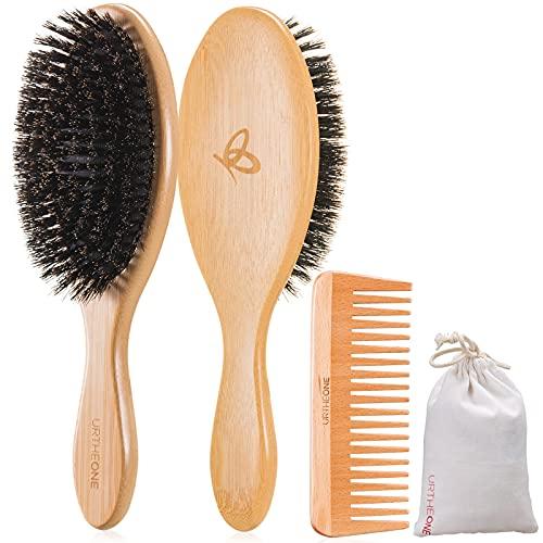 Hair Brush,Boar Bristle Hair Brush,Hair Brushes for Women Men Kids,Soft Natural Bristles Bamboo Brush and Hair Comb Set for Thin Fine Short Dry Hair Restore Shine And Texture