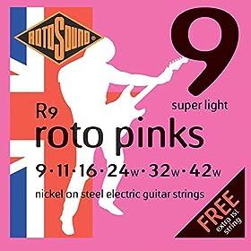 Juego de cuerdas para guitarra eléctrica Material: níquel Juego calibre: 9-11-16-24-32-42 Incluye dos primeras de 9