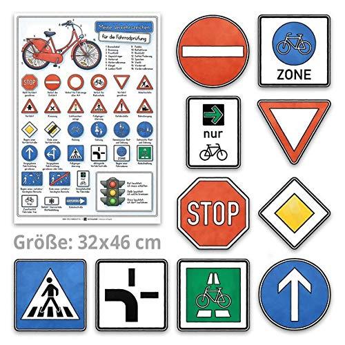 Meine Verkehrszeichen für die Fahrradprüfung- mit den neuen Verkehrszeichen: Lernposter 32 x 46 cm