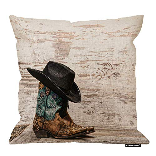 QUEMIN Cowboy Throw Pillow Cushion Cover,American West Rodeo Black Cowboy Hat ATOP Pair of Designer Fashion Leather Cotton Linen Polyester Decorative Home Decor Sofa Couch Desk Bedroom 18x18inch