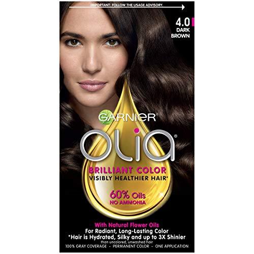 Garnier Olia Ammonia Free Permanent Hair Color, 100 Percent Gray Coverage (Packaging May Vary), 4.0 Dark Brown Hair Dye, Pack of 1