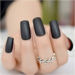 VIKSON INTERNATIONAL set of 24 iridescent Matte frost Finish Black False Nails Long French Tips Nails Extensions Reusable Fake Nails with nail glue 2 gm or 1 sheet (24 pc) nail glue sticker